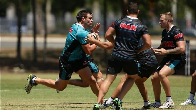 Big bopper Tim Grant hits the ball up at training. Picture: Brett Costello