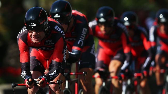 Cadel Evans leads his BMC Racing team during the stage two time trial of the 2013 Giro d'Italia.