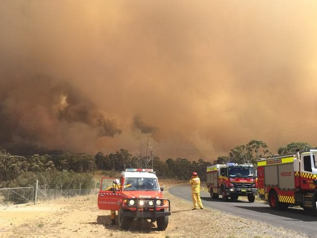 Several homes have been lost and a firefighter hospitalised as fierce bushfires tore through NSW.