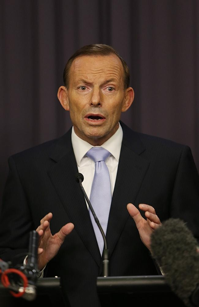 Decided: Tony Abbott at a press conference last night. Picture: Gary Ramage