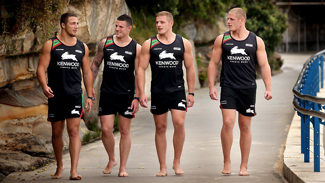 The Burgess brothers: (L to R) Sam, Luke and twins George and Tom at Coogee Beach. Picture: Gregg Porteous
