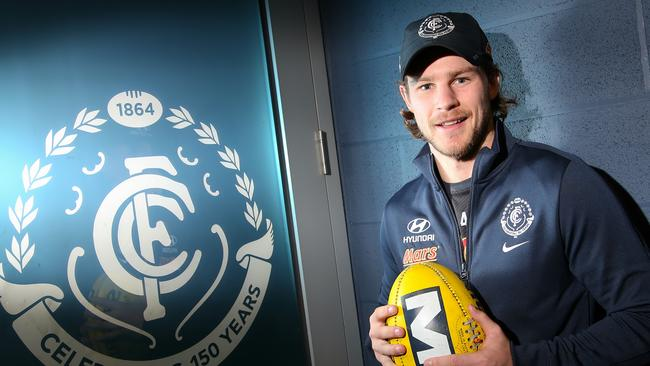 Bryce Gibbs believes Carlton can win a flag by 2019 — the season he has re-signed until. Picture: Hamish Blair
