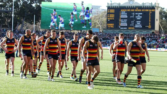 Adelaide players walk off the ground after disappointing loss to West Coast. Picture: Sarah Reed.
