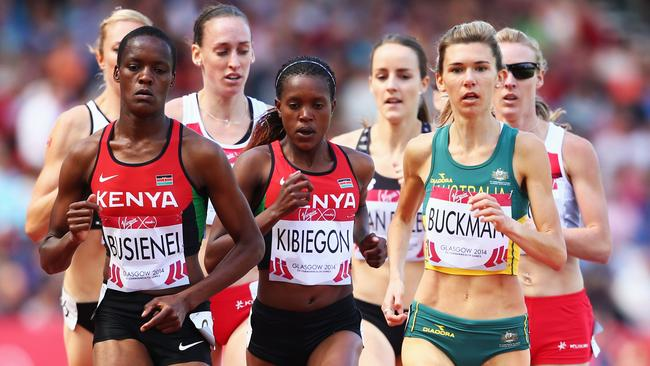 Australia's Zoe Buckman (right) needs an appeal to get up after bombing out in the 1500m heats.