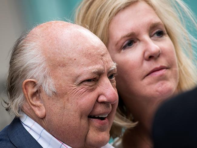 Former Fox News chairman Roger Ailes walking with his wife Elizabeth Tilson. Picture: AFP