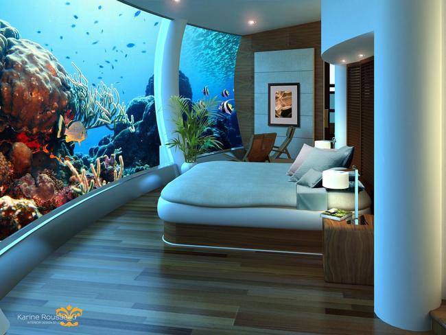 "Reservations for the Poseidon Undersea Resort would start from about $15,000 - and the company says the level of interest has been so strong that despite its first Fiji resort not yet having a launch date, it's already looking for a place to build a second resort. Picture: Karine Rousseau Interior Design /  <a href=""http://www.poseidonresorts.com/"" target=""_blank"">Poseidon Resorts</a>"