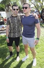 Musician Joe Jonas and SVP of Media Relations for Republic Records Joseph Carozza attend The Hyde Away. Picture: Jonathan Leibson/Getty Images for Republic Records/UMG