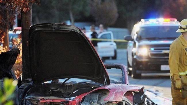 The wreckage of the Porsche in which actor Paul Walker and the driver were killed. Picure: The Santa Clarita Valley Signal, Dan Watson