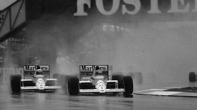After almost banging wheels with the fast-starting Prost, Senna led into the chicane and set sail.