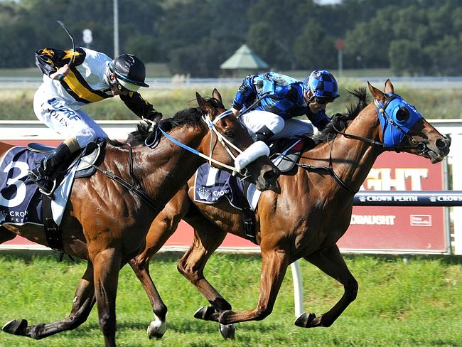 Jockey Damian Browne drives Buffering (rails) to the line to win the Winterbottom Stakes from Moment Of Change in Perth last year. Picture: Graeme Collopy