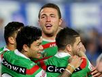 South Sydney's Sam Burgess scores his 2nd try during the NRL game between the Canterbury Bankstown Bulldogs and the South Sydney Rabbitohs at ANZ Stadium. Picture Gregg Porteous