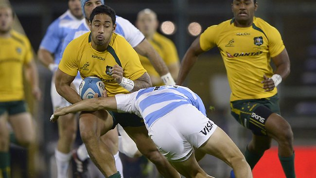 Wallabies winger Joe Tomane on the charge against Argentina at Gigante de Arroyito stadium in Rosario. Picture: Juan Mabromata