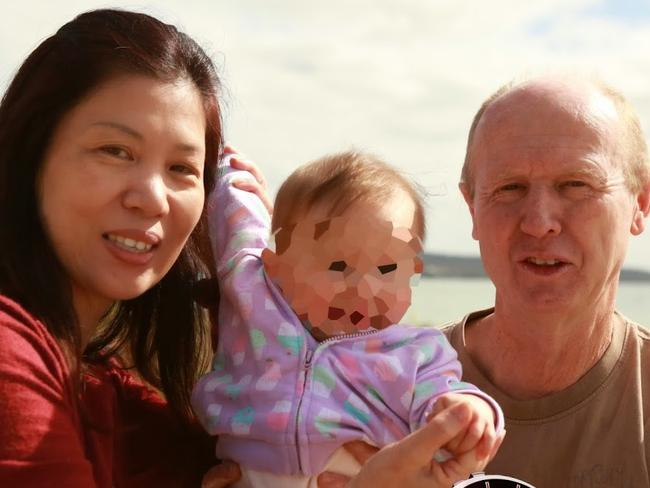 Took one of two twins ... David and Wendy Farnell, from bunbury, Western Australia, with his baby Pipah. Picture: 60 Minutes