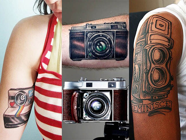 Photography tattoos: never leave home without your camera. Photos: Elsie Cake, Pablo Eats the Lion and Jeff Oliver.