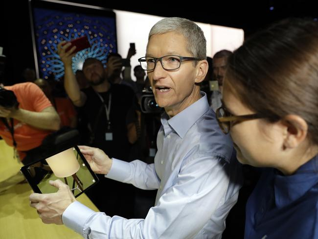 Apple CEO Tim Cook shows off an iPad Pro at the Apple Worldwide Developers Conference. Picture: AP