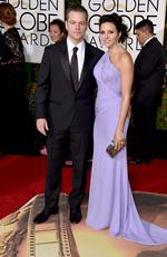 Matt Damon and Luciana Barroso arrive at the 73rd annual Golden Globe Awards on Sunday, Jan. 10, 2016, at the Beverly Hilton Hotel in Beverly Hills. Picture: Jordan Strauss/Invision/AP