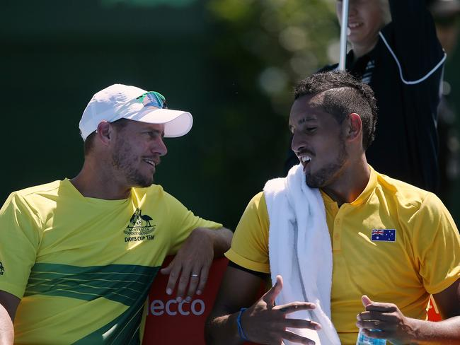 Nick Kyrgios chats with Davis Cup captain Lleyton Hewitt. Picture: Wayne Ludbey
