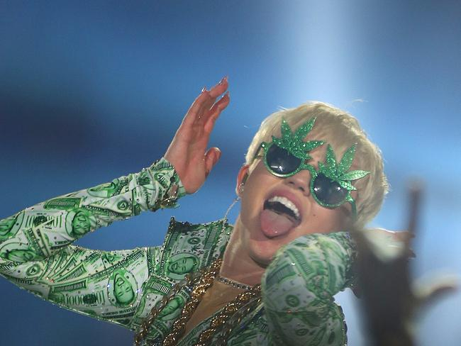 Hellraiser. Cyrus performs on stage at 02 Arena in London earlier this month. Picture: Getty