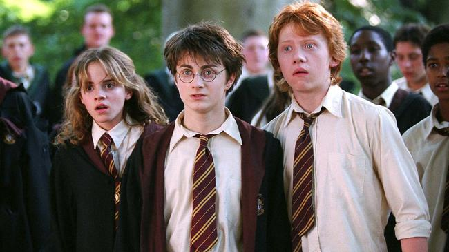 A more familiar uniform ... as Hermione with her Hogwarts besties Harry and Ron, played by Daniel Radcliffe and Rupert Grint, in  <i>Harry Potter and the Prisoner of Azkaban</i>.