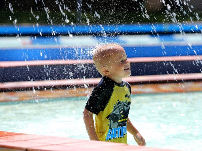 Jarrod Deaker, aged four, cools down at the Wauchope Pool. Picture: Nathan Edwards