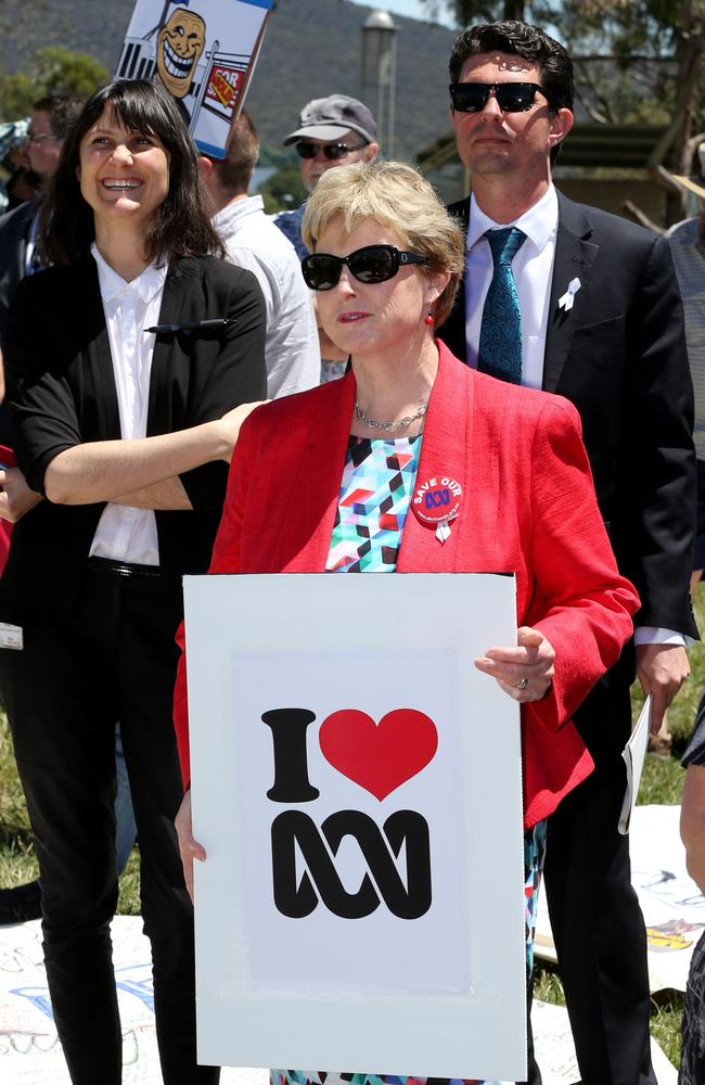 ABC supporters, including Greens leader Christine Milne, rally outside Parliament House.