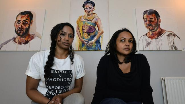 Beloved cousin ... Niranjela Karunatilake (left) and Roshine Singam show their support for Sukumaram at an art gallery in Amsterdam, Holland.
