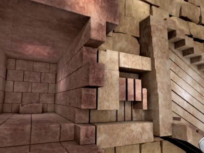 This system of huge granite blocks suspended on grooves could be activated to seal the Great Pyramid's King's Chamber. Picture: Science Channel