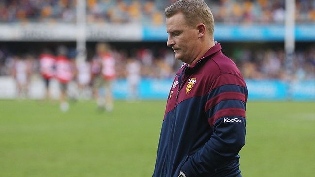 Brisbane coach Michael Voss leaves the field after the Lions lost to West Coast.