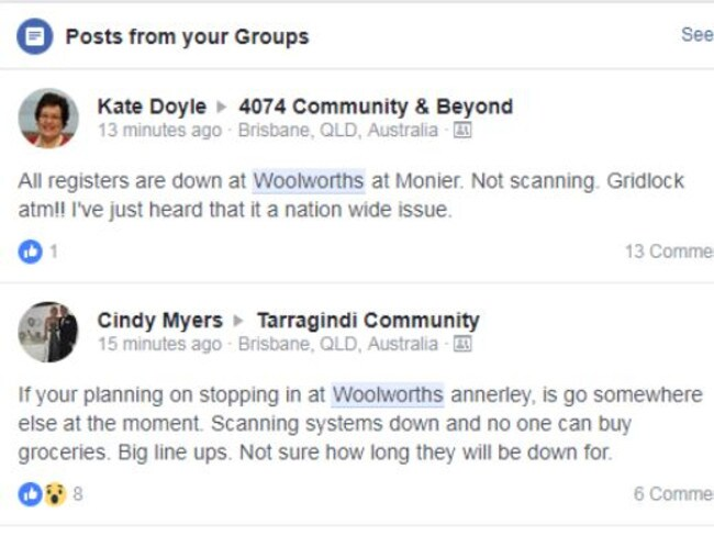 Woolworths customers attack the supermarket giant on Facebook. Picture: Supplied