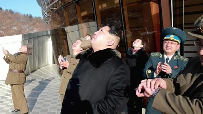 North Korean leader Kim Jong-Un watches the rocket launch. Picture: AFP/North Korean TV via Yonhap