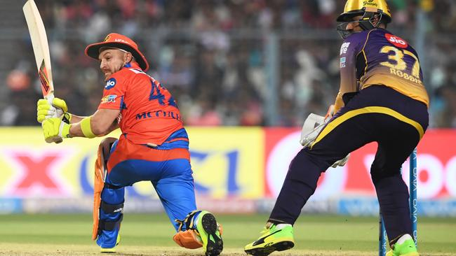 Gujarat Lions cricketer Brendon McCullum scores against Kolkata.