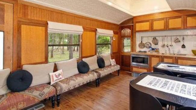 There's plenty of room inside the former train's kitchen as well. Picture: Stayz.