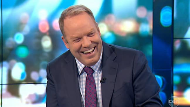 Peter Helliar laughs along to his co-hosts rude joke.