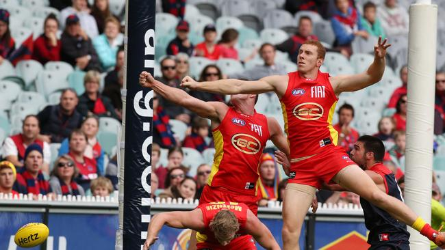 Gold Coast's Steven May and Rory Thompson were involved in a controversial video review earlier this season. Picture: Wayne Ludbey