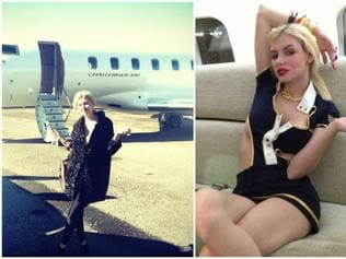 Gabi Grecko boards the jet at Teterboro before donning a sexy outfit on board (right) to entertain two cops and three other men. Picture: New York Post