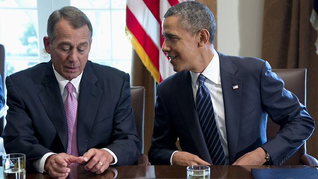 President Barack Obama talks with House Speaker John Boehner of Ohio, who has supported a strike on Syria.