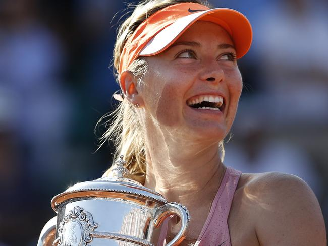 Sharapova with the French Open trophy. Picture: Darko Vojinovic