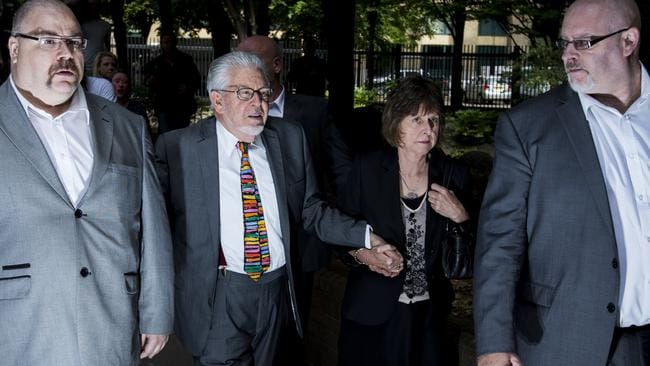 Final steps as a free man ... Artist and television personality Rolf Harris arrives at Southwark Crown Court to face sentencing on 12 counts of indecent assault. Picture: Tristan Fewings