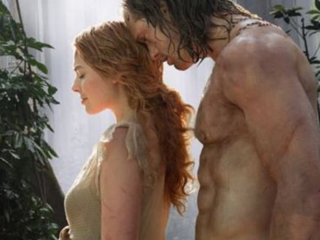 Romance rumours ... Alexander Skarsgard and Margot Robbie in the Tarzan remake. Picture: Supplied.