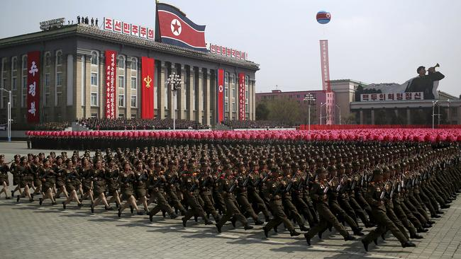 Soldiers march in Pyongyang, North Korea, to celebrate the 105th birth anniversary of Kim Il-sung, the grandfather of current ruler Kim Jong-un. Picture: AP Photo/Wong Maye-E