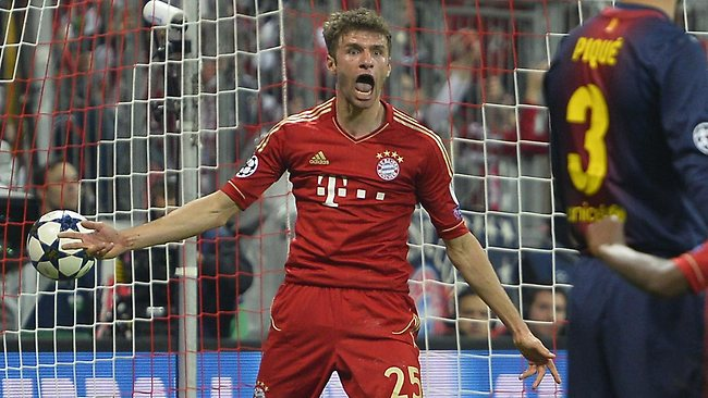 Bayern's Thomas Mueller reacts after scoring the fourth goal during the UEFA Champions League first leg semi-final against Barcelona in Munich. Picture: Odd Andersen