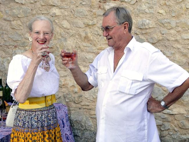 Prince Henrik and Queen Margrethe attend a photocall at their summer house in Luzech, France in 2007. Picture: Julian Parker/UK Press