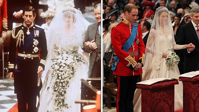 Compare and contrast: The relaxed body language says William and Kate have a better chance at happiness than Charles and Diana: Picture AFP