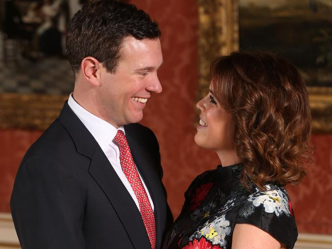 Jack Brooksbank and Princess Eugenie will tie the not in the UK autumn. Picture: AFP/Jonathan Brady