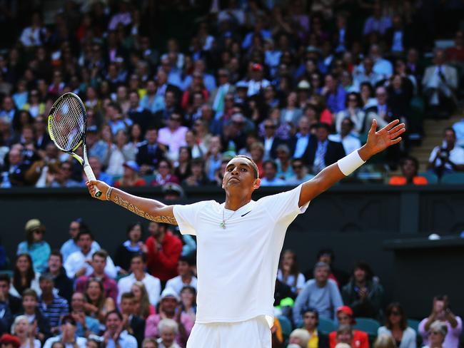 Upset ... Aussie Nick Kyrgios pulled off a stunning win over Rafael Nadal at Wimbledon.