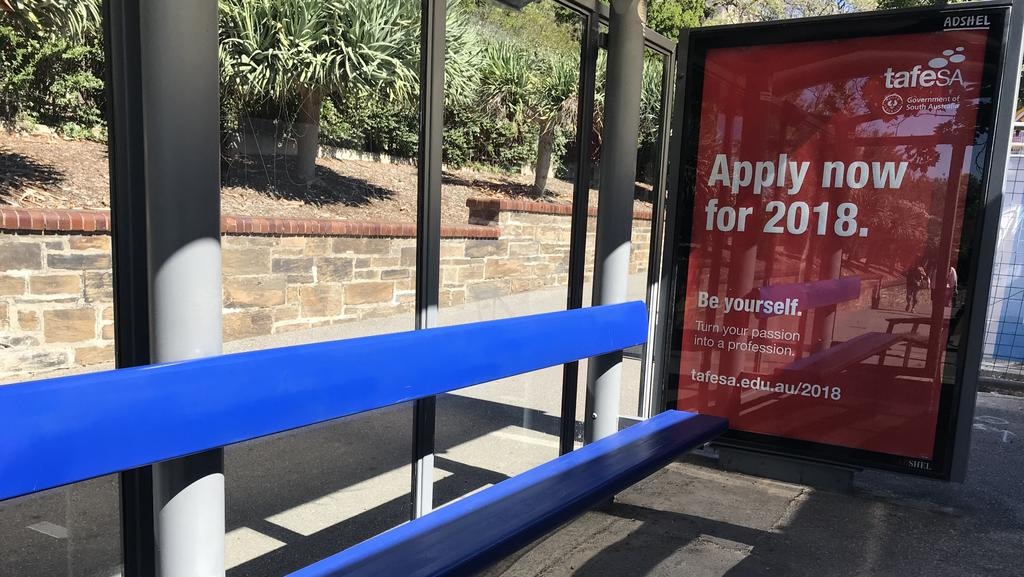 TAFE SA sign on CBD bus stop. Picture: Cathy Davis