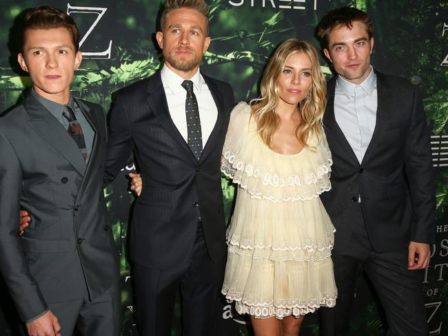 Brad Pitt produced The Lost City of Z, which stars Tom Holland, Charlie Hunnam, Sienna Miller, and Robert Pattinson. Picture: Rich Fury/Getty Images