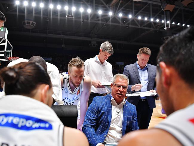 Dean Vickerman tries to muster his players despite the disparity in fouls in enemy territory. Picture: Getty Images