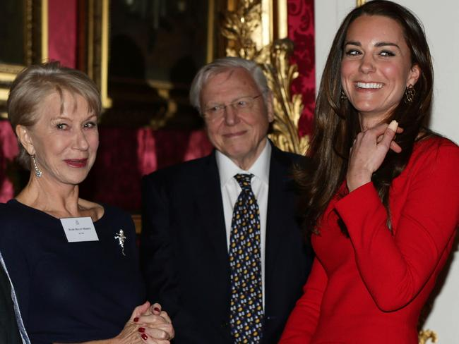 Mirren and Sir David Attenborough with Catherine, Duchess of Cambridge at a reception at Buckingham Palace in February. Picture: Getty
