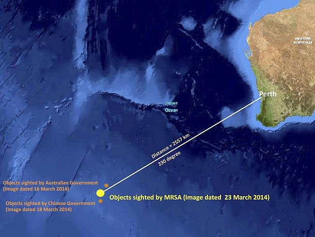 Proof?...This graphic shows the approximate position of objects believed to be the debris of MH370, seen floating in the Indian Ocean. Picture: AP/Malaysian Remote Sensing Agency